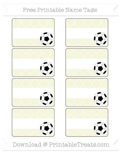 Free Beige Quatrefoil Pattern Soccer Name Tags
