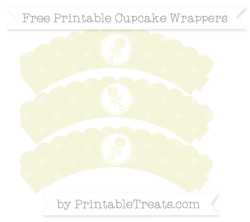 Free Beige Star Pattern Baby Rattle Scalloped Cupcake Wrappers