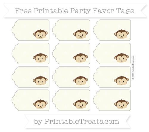 Free Beige Star Pattern Boy Monkey Party Favor Tags
