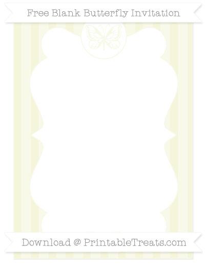 Free Beige Striped Blank Butterfly Invitation