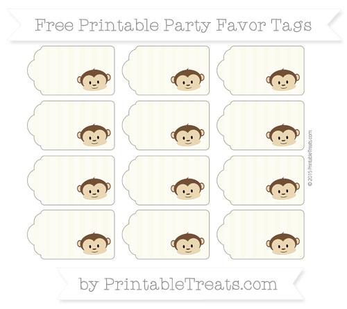 Free Beige Striped Boy Monkey Party Favor Tags