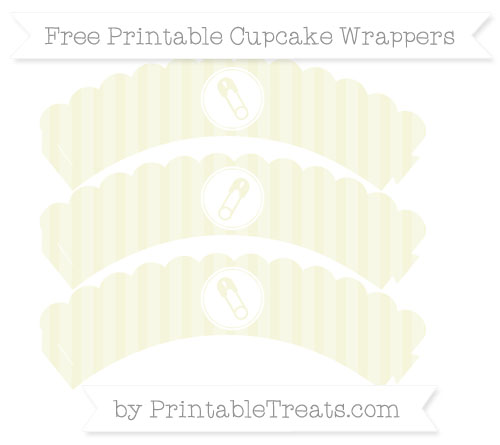 Free Beige Striped Diaper Pin Scalloped Cupcake Wrappers