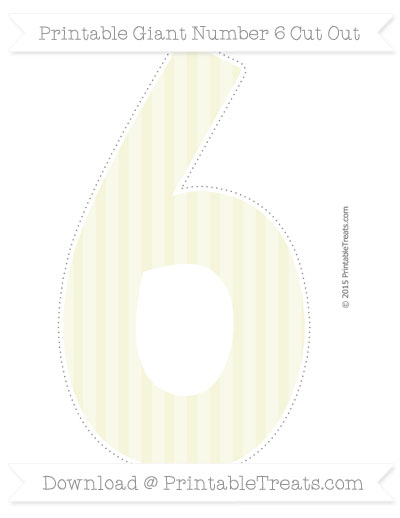 Free Beige Striped Giant Number 6 Cut Out