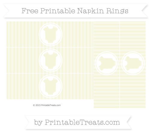 Free Beige Thin Striped Pattern Baby Onesie Napkin Rings