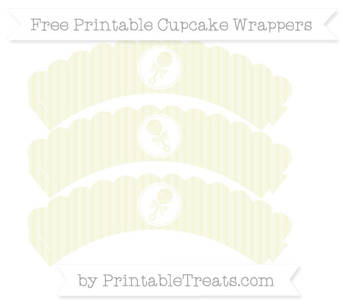 Free Beige Thin Striped Pattern Baby Rattle Scalloped Cupcake Wrappers