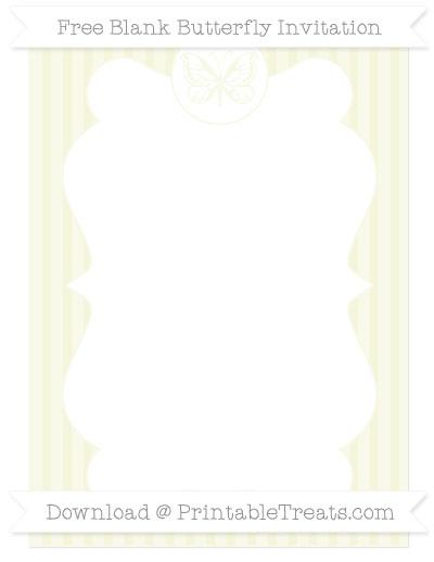 Free Beige Thin Striped Pattern Blank Butterfly Invitation
