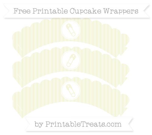 Free Beige Thin Striped Pattern Diaper Pin Scalloped Cupcake Wrappers