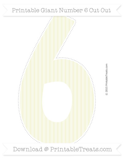 Free Beige Thin Striped Pattern Giant Number 6 Cut Out