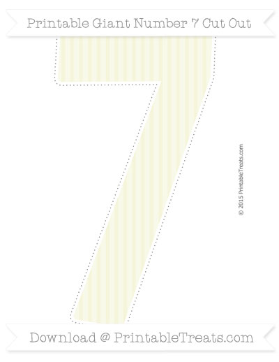 Free Beige Thin Striped Pattern Giant Number 7 Cut Out
