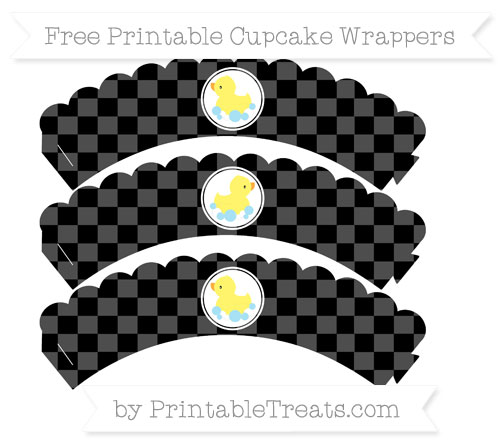 Free Black Checker Pattern Baby Duck Scalloped Cupcake Wrappers