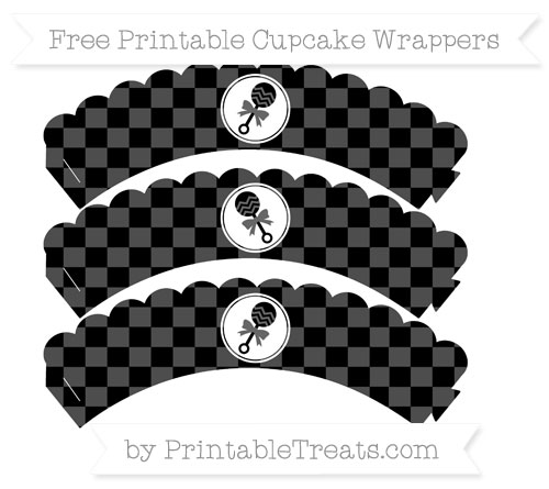 Free Black Checker Pattern Baby Rattle Scalloped Cupcake Wrappers