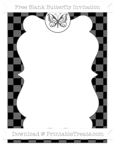 Free Black Checker Pattern Blank Butterfly Invitation