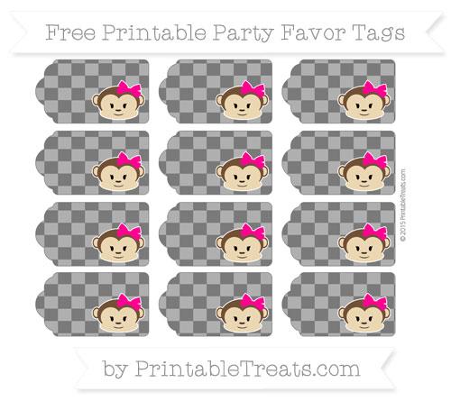 Free Black Checker Pattern Girl Monkey Party Favor Tags