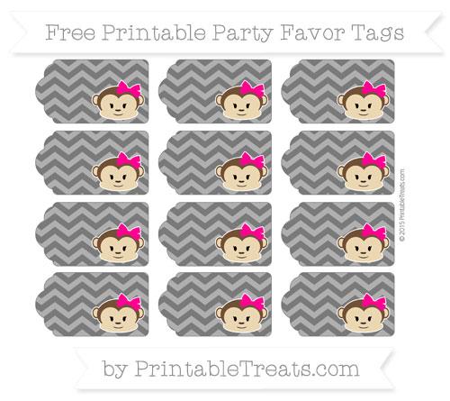 Free Black Chevron Girl Monkey Party Favor Tags