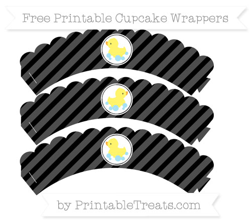 Free Black Diagonal Striped Baby Duck Scalloped Cupcake Wrappers