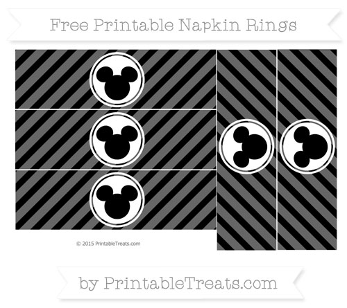 Free Black Diagonal Striped Mickey Mouse Napkin Rings