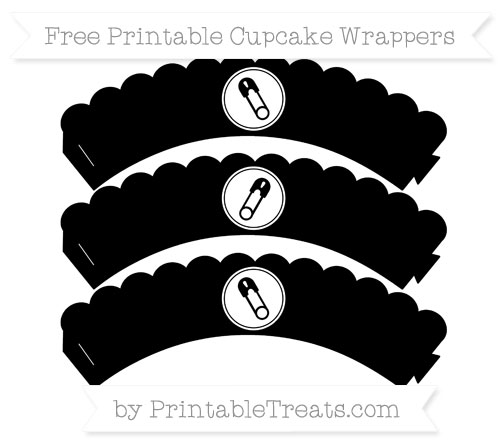 Free Black Diaper Pin Scalloped Cupcake Wrappers
