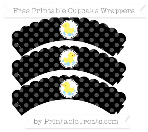 Free Black Dotted Pattern Baby Duck Scalloped Cupcake Wrappers
