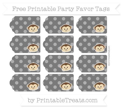 Free Black Dotted Pattern Boy Monkey Party Favor Tags