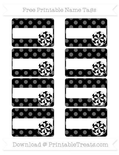Free Black Dotted Pattern Cheer Pom Pom Tags
