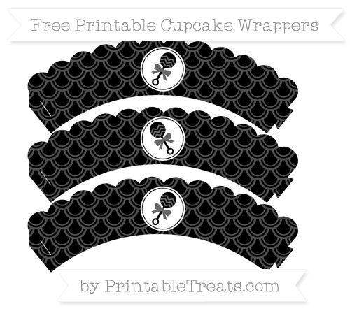 Free Black Fish Scale Pattern Baby Rattle Scalloped Cupcake Wrappers