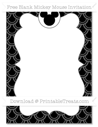 Free Black Fish Scale Pattern Blank Mickey Mouse Invitation