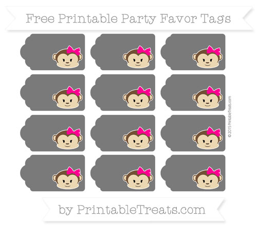 Free Black Girl Monkey Party Favor Tags