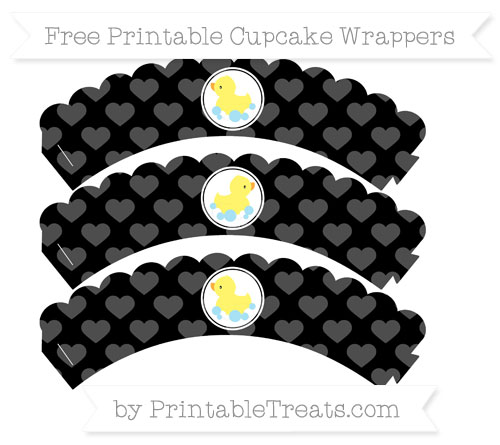 Free Black Heart Pattern Baby Duck Scalloped Cupcake Wrappers