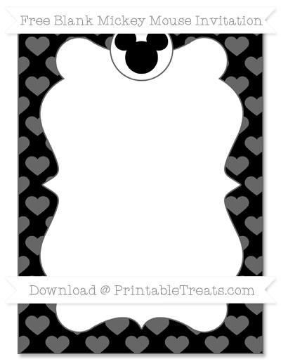 Free Black Heart Pattern Blank Mickey Mouse Invitation