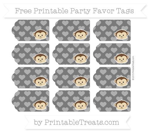 Free Black Heart Pattern Boy Monkey Party Favor Tags