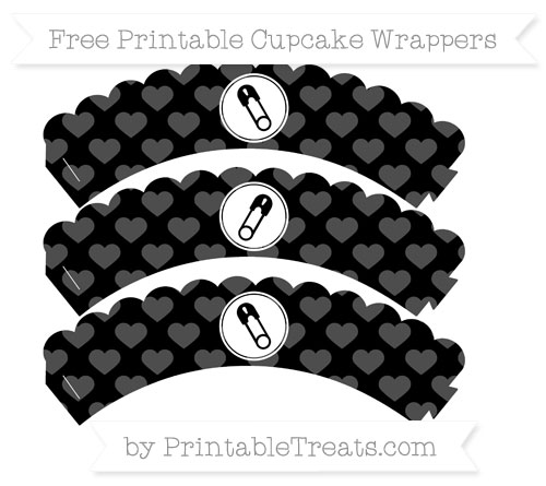 Free Black Heart Pattern Diaper Pin Scalloped Cupcake Wrappers