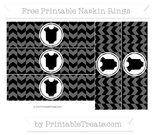 Free Black Herringbone Pattern Baby Onesie Napkin Rings