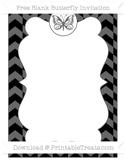 Free Black Herringbone Pattern Blank Butterfly Invitation