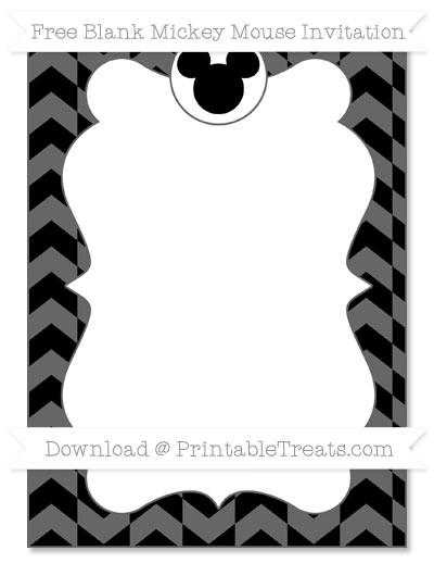 Free Black Herringbone Pattern Blank Mickey Mouse Invitation