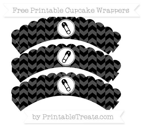 Free Black Herringbone Pattern Diaper Pin Scalloped Cupcake Wrappers