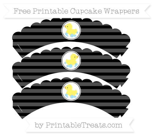 Free Black Horizontal Striped Baby Duck Scalloped Cupcake Wrappers