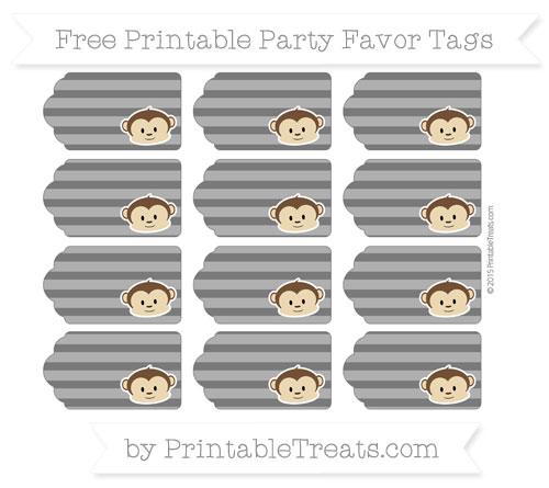 Free Black Horizontal Striped Boy Monkey Party Favor Tags