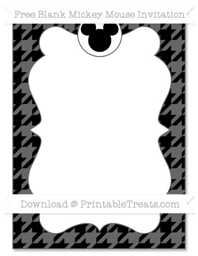 Free Black Houndstooth Pattern Blank Mickey Mouse Invitation
