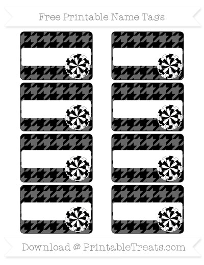 Free Black Houndstooth Pattern Cheer Pom Pom Tags
