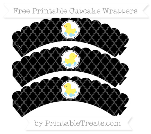 Free Black Moroccan Tile Baby Duck Scalloped Cupcake Wrappers