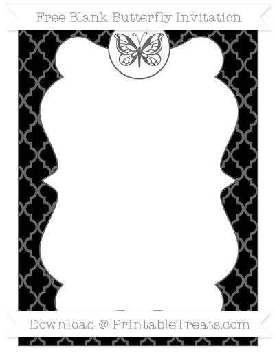 Free Black Moroccan Tile Blank Butterfly Invitation