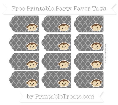 Free Black Moroccan Tile Boy Monkey Party Favor Tags