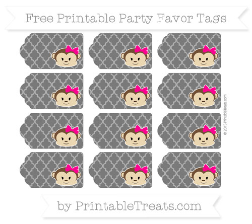 Free Black Moroccan Tile Girl Monkey Party Favor Tags