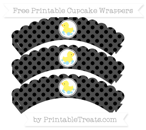Free Black Polka Dot Baby Duck Scalloped Cupcake Wrappers