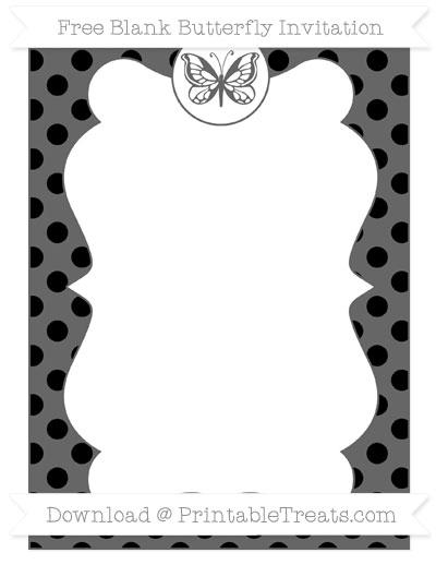 Free Black Polka Dot Blank Butterfly Invitation