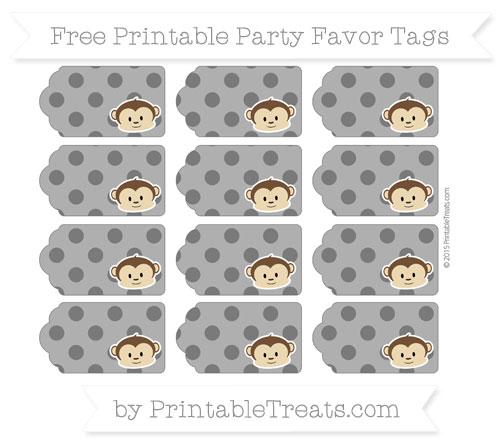 Free Black Polka Dot Boy Monkey Party Favor Tags
