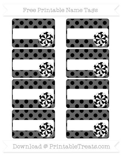 Free Black Polka Dot Cheer Pom Pom Tags