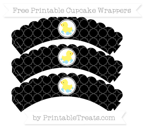 Free Black Quatrefoil Pattern Baby Duck Scalloped Cupcake Wrappers