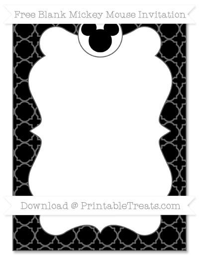 Free Black Quatrefoil Pattern Blank Mickey Mouse Invitation