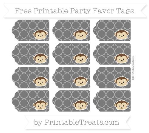 Free Black Quatrefoil Pattern Boy Monkey Party Favor Tags